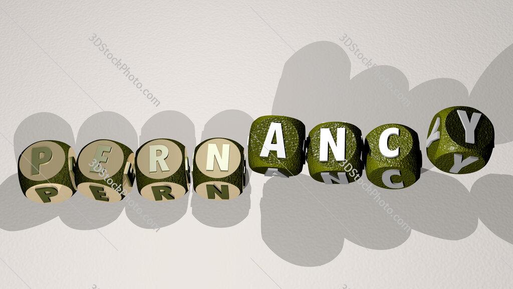 pernancy text by dancing dice letters