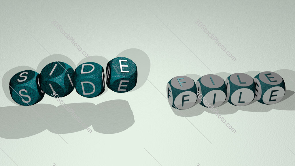 side file text by dancing dice letters