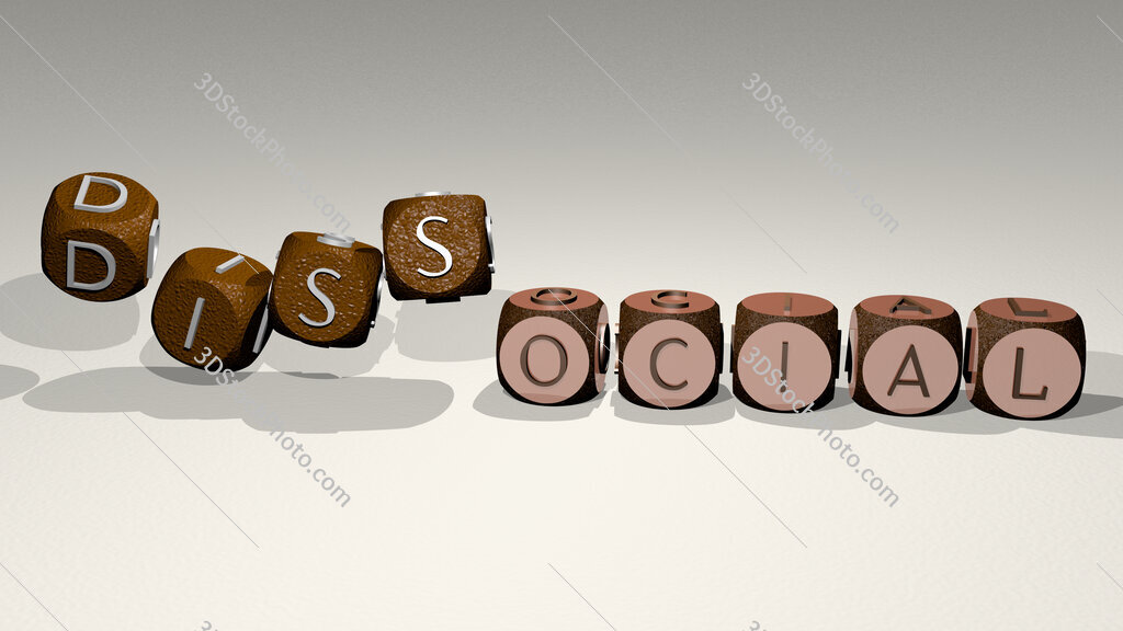 dissocial text by dancing dice letters