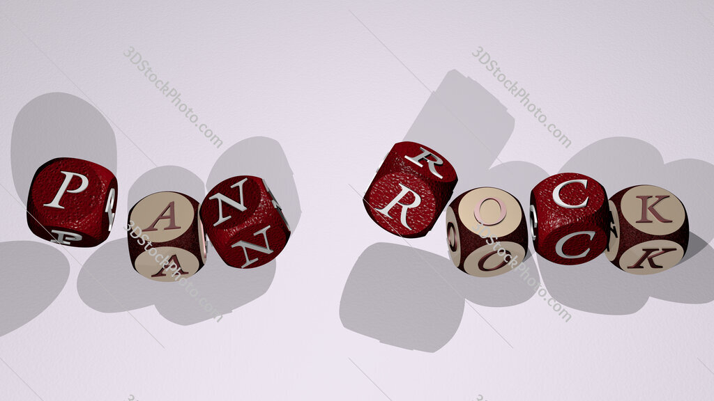 pan rock text by dancing dice letters
