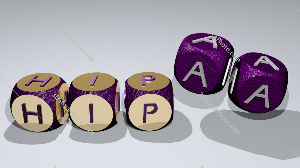 hipaa text by dancing dice letters