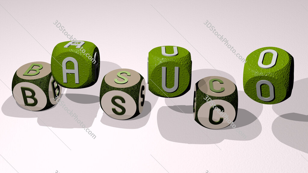 basuco text by dancing dice letters