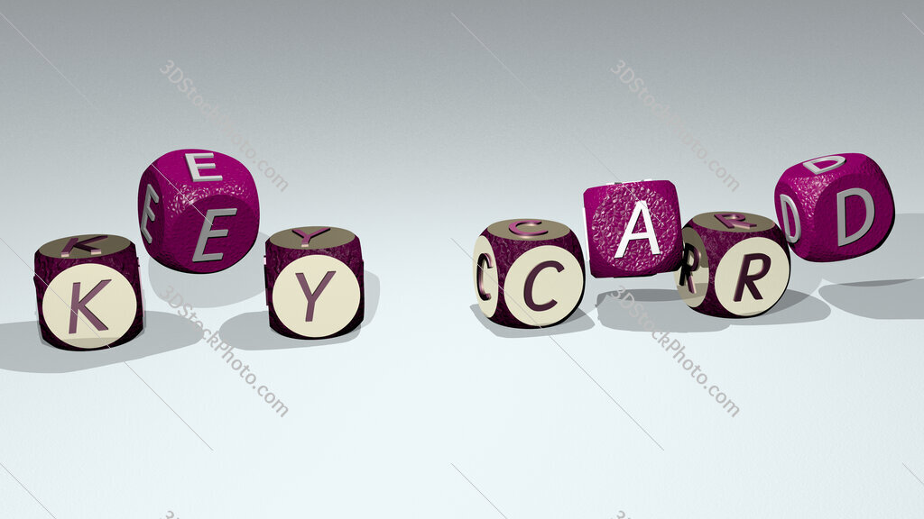 key card text by dancing dice letters