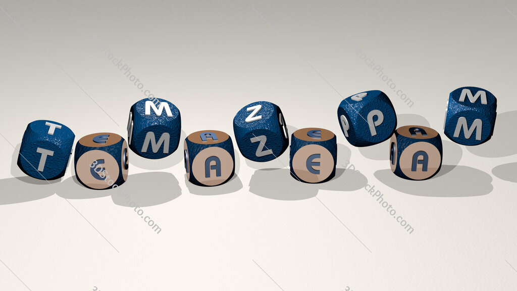 temazepam text by dancing dice letters