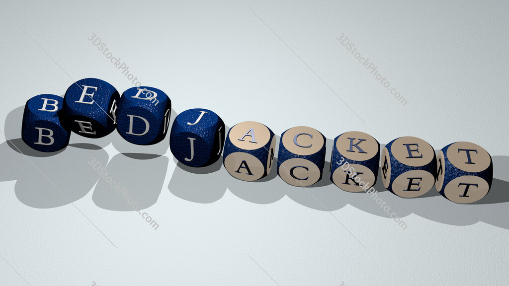 bedjacket text by dancing dice letters