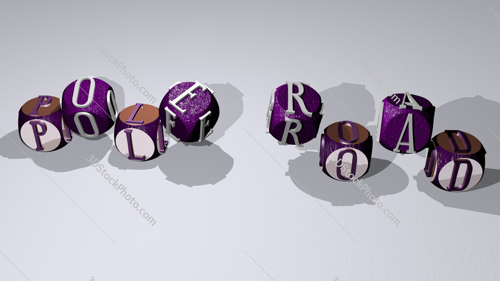 pole road text by dancing dice letters