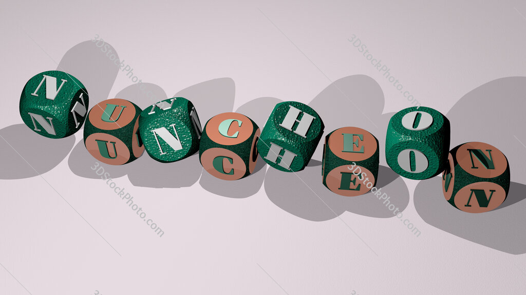 nuncheon text by dancing dice letters