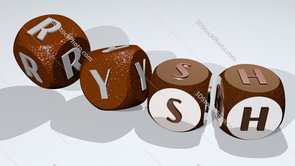 rysh text by dancing dice letters