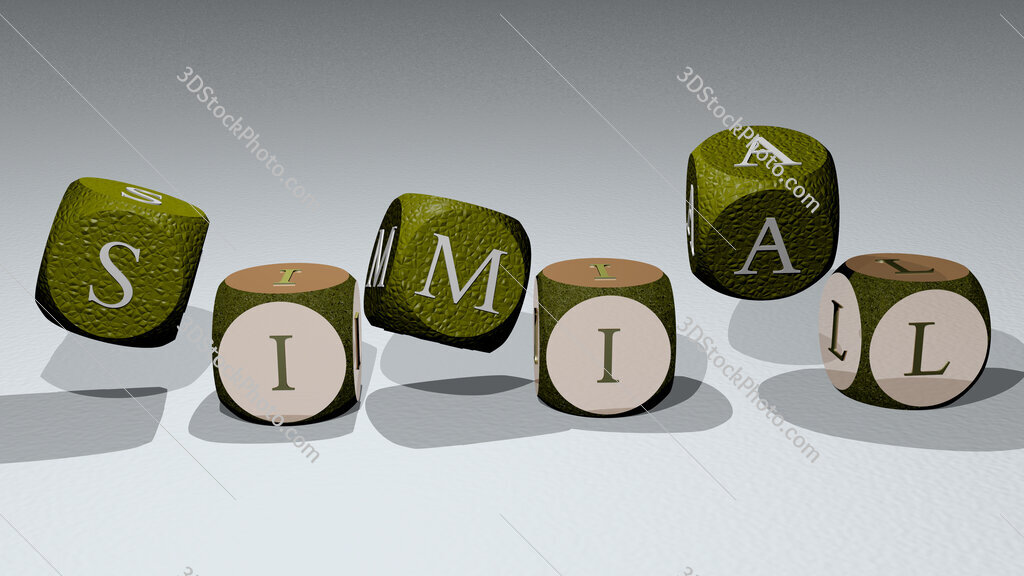 simial text by dancing dice letters