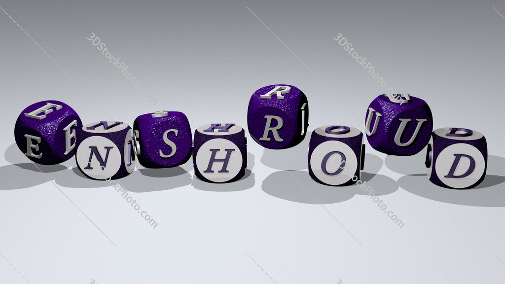 enshroud text by dancing dice letters