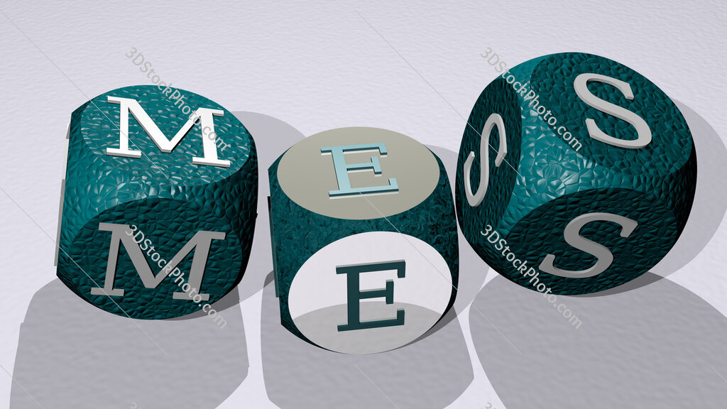 mes text by dancing dice letters