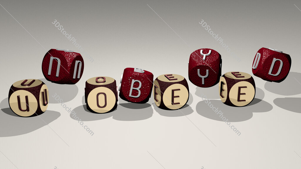 unobeyed text by dancing dice letters