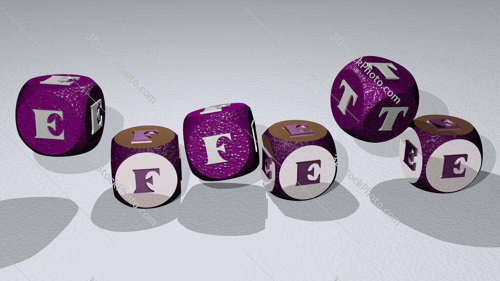 effete text by dancing dice letters