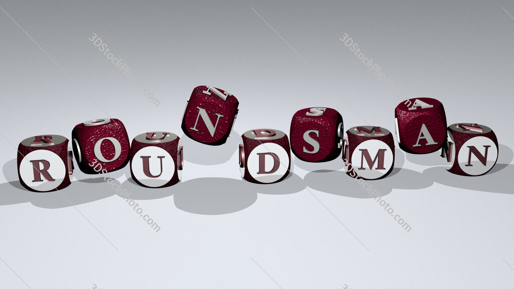 roundsman text by dancing dice letters