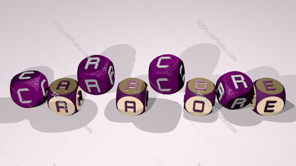 caracore text by dancing dice letters