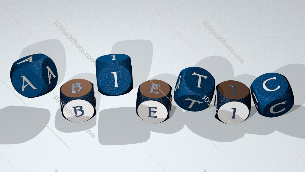 abietic text by dancing dice letters