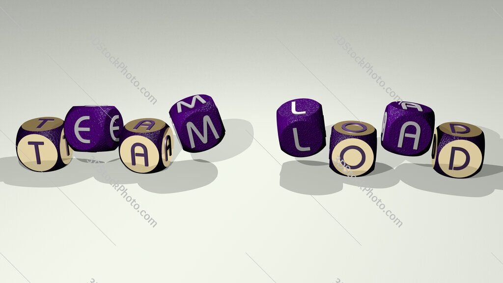team load text by dancing dice letters