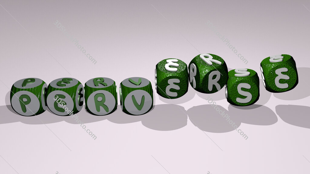 Perverse text by dancing dice letters