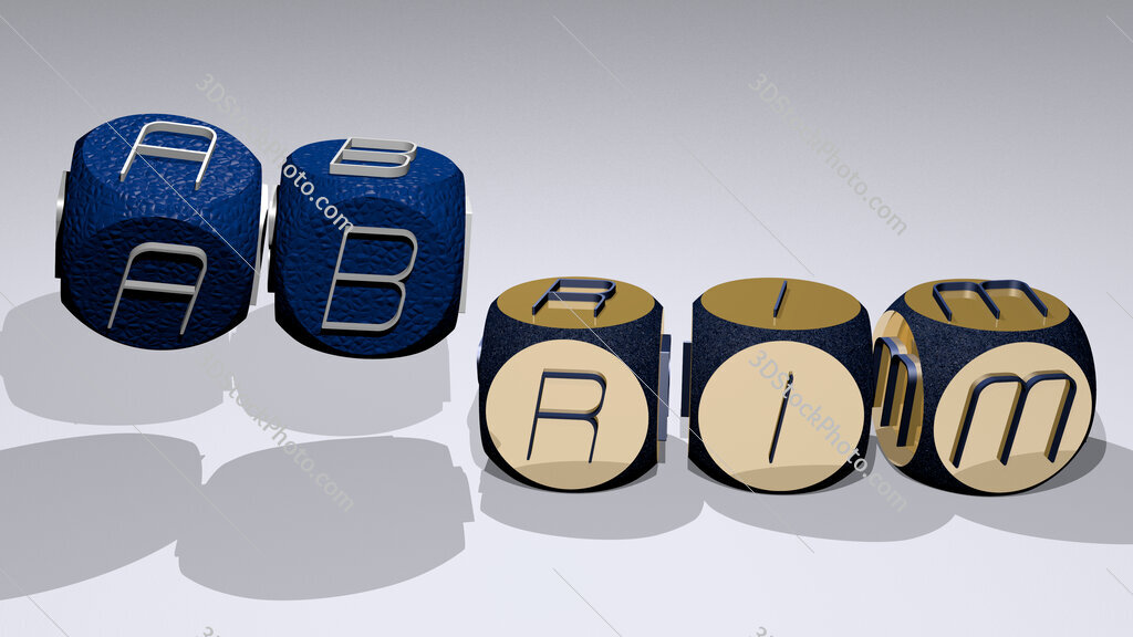 abrim text by dancing dice letters
