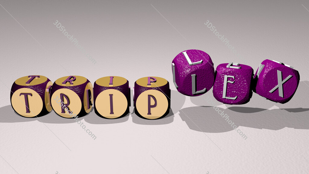 triplex text by dancing dice letters