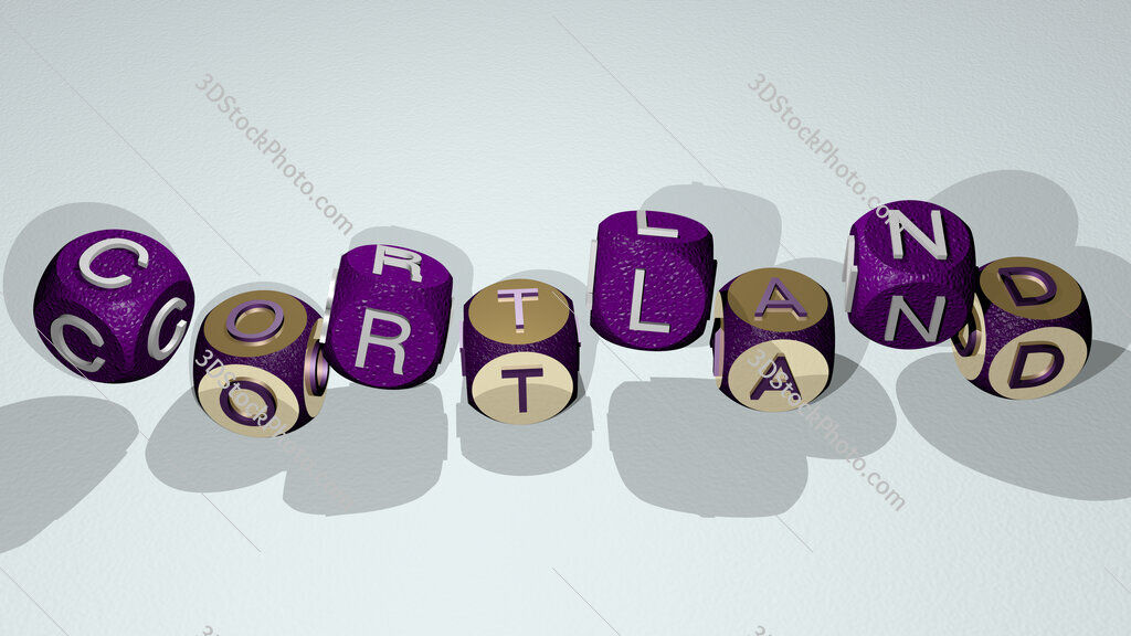 Cortland text by dancing dice letters