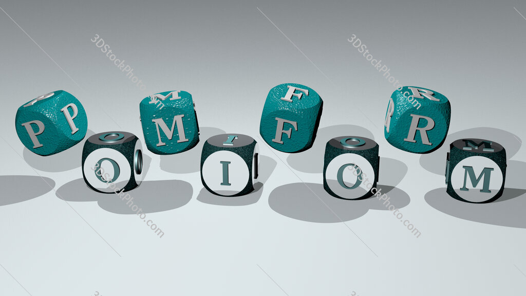 pomiform text by dancing dice letters