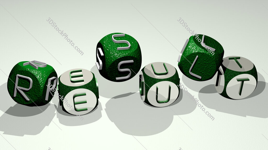 result text by dancing dice letters
