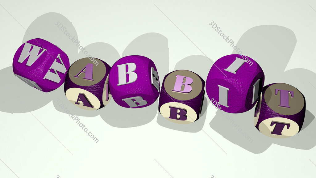 Wabbit text by dancing dice letters
