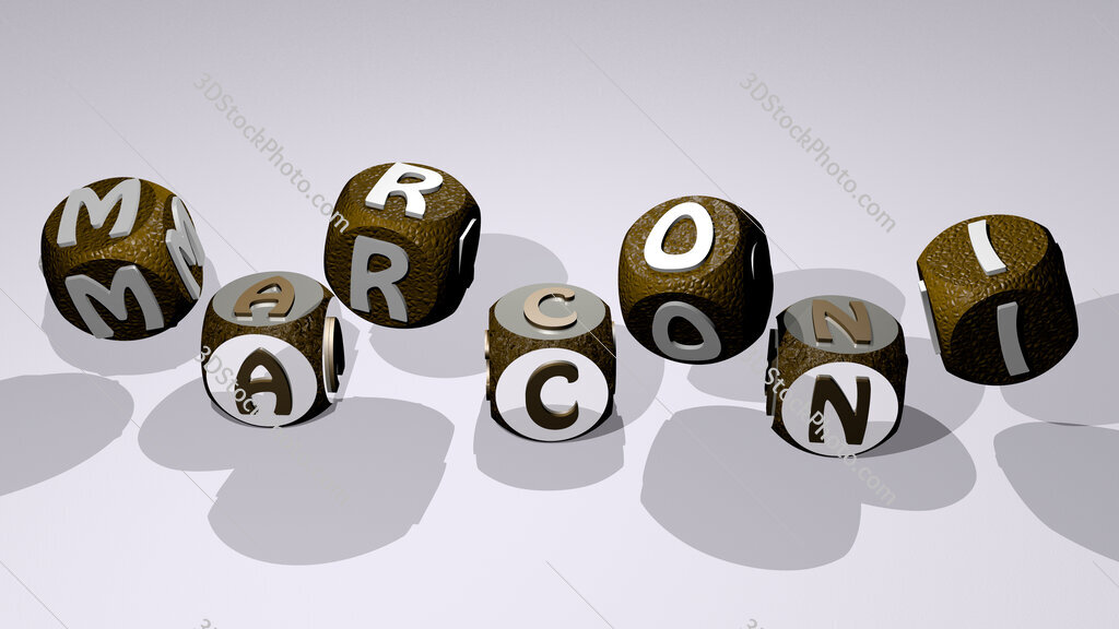 marconi text by dancing dice letters