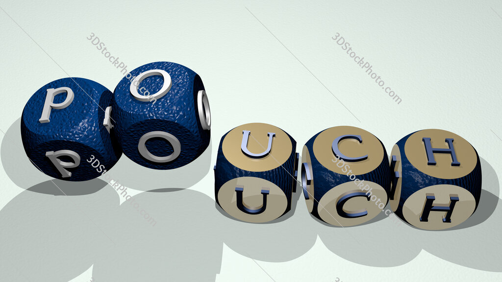 pouch text by dancing dice letters
