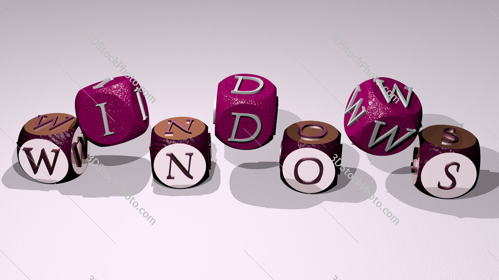 windows text by dancing dice letters