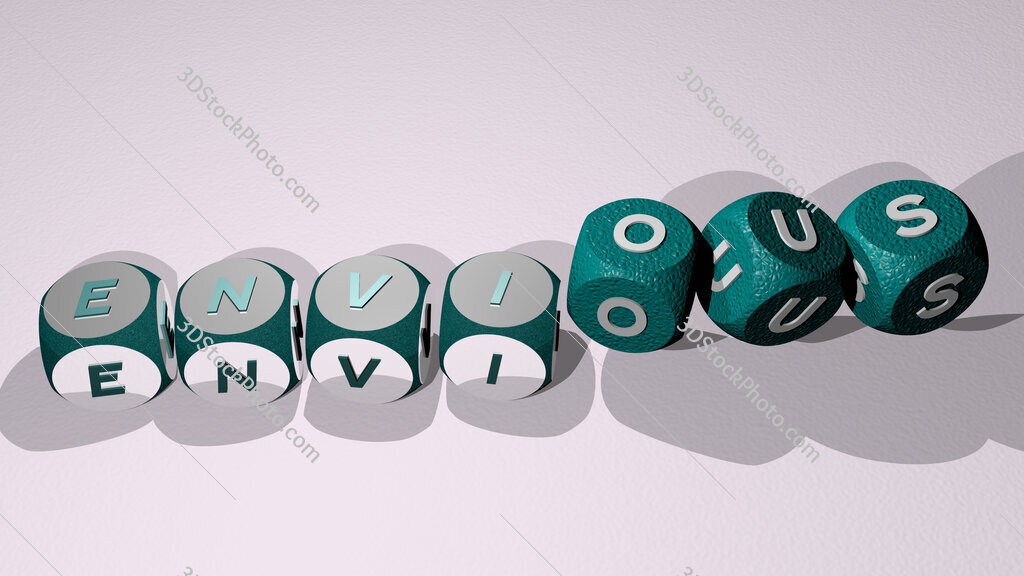 envious text by dancing dice letters