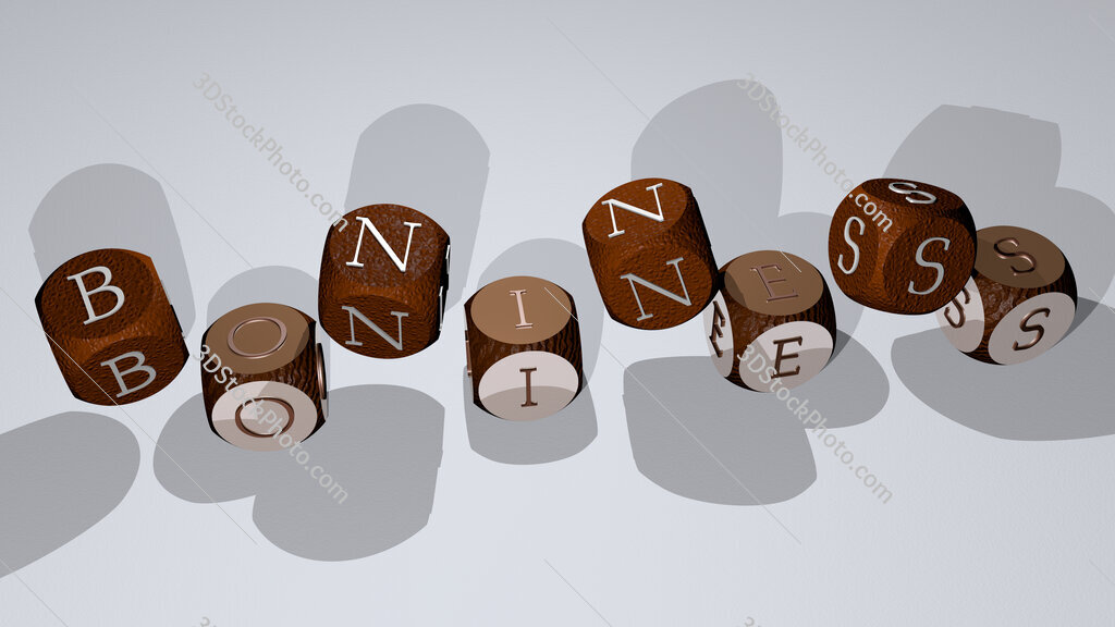 boniness text by dancing dice letters