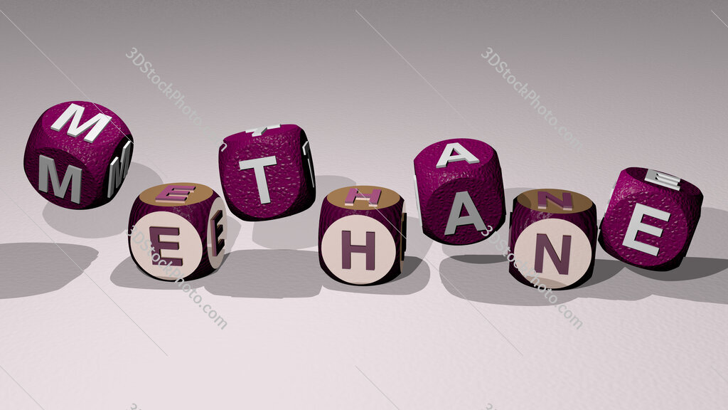 methane text by dancing dice letters