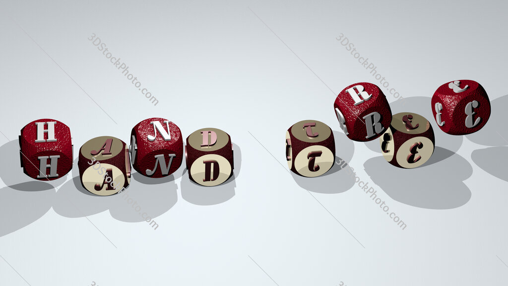 hand tree text by dancing dice letters