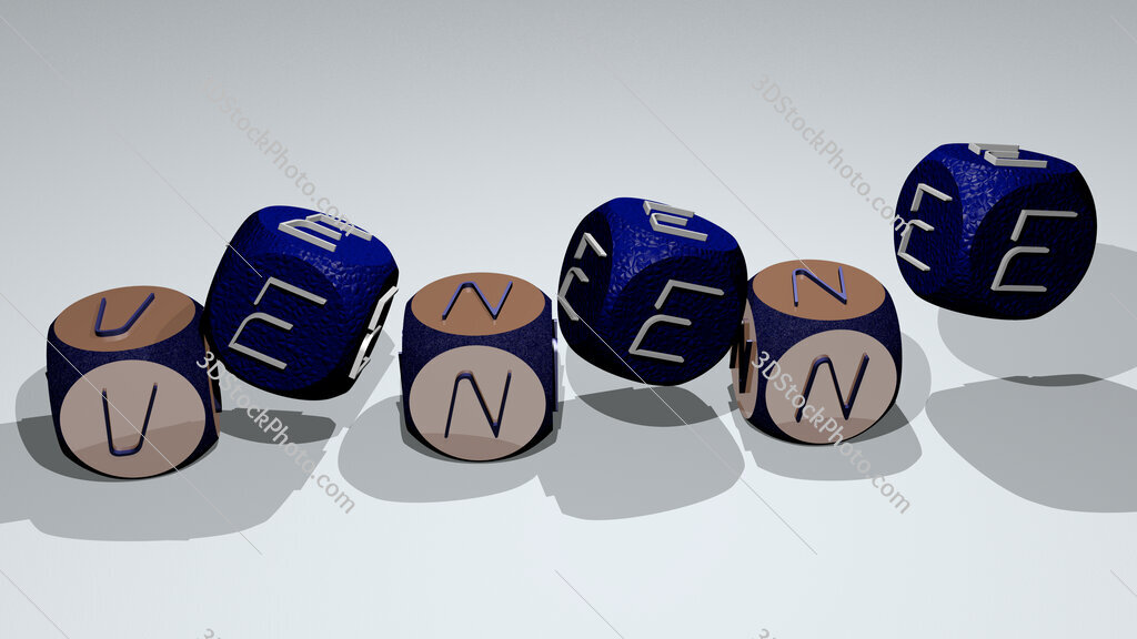 venene text by dancing dice letters