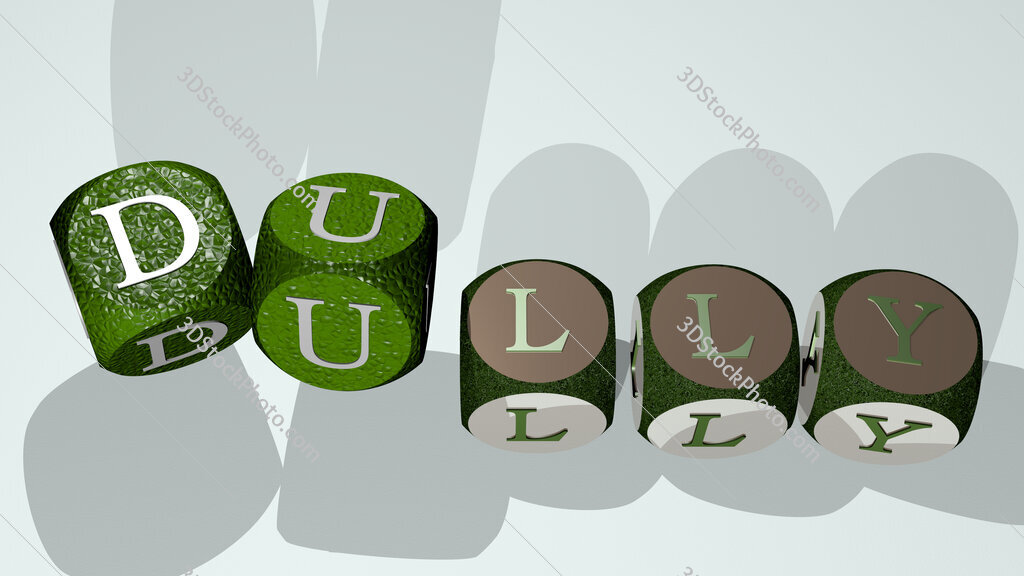 dully text by dancing dice letters