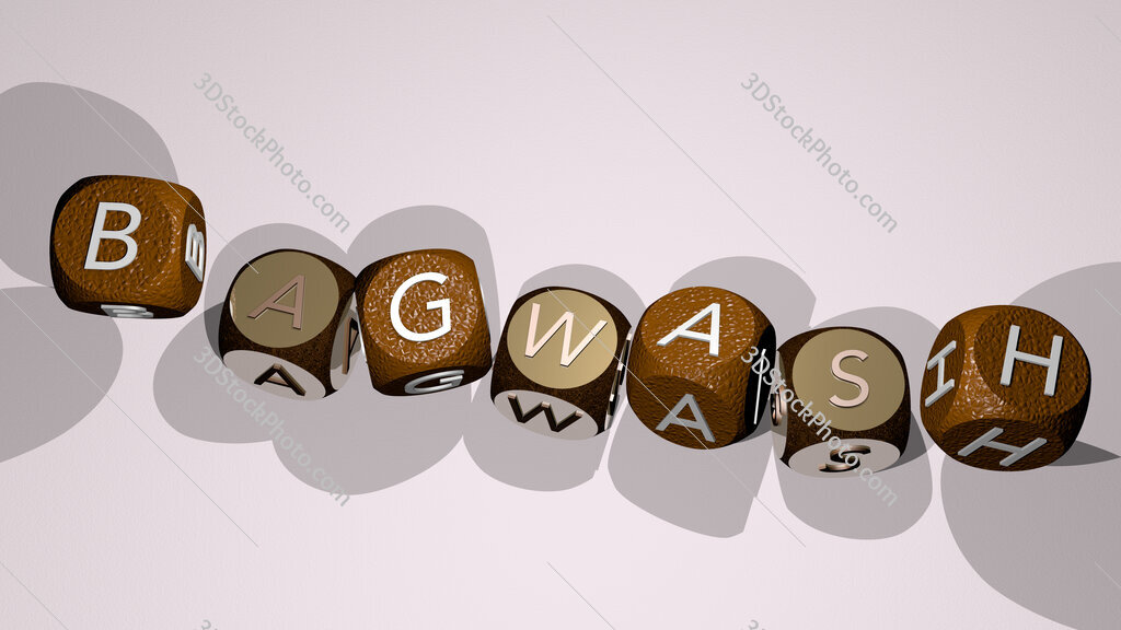 bagwash text by dancing dice letters