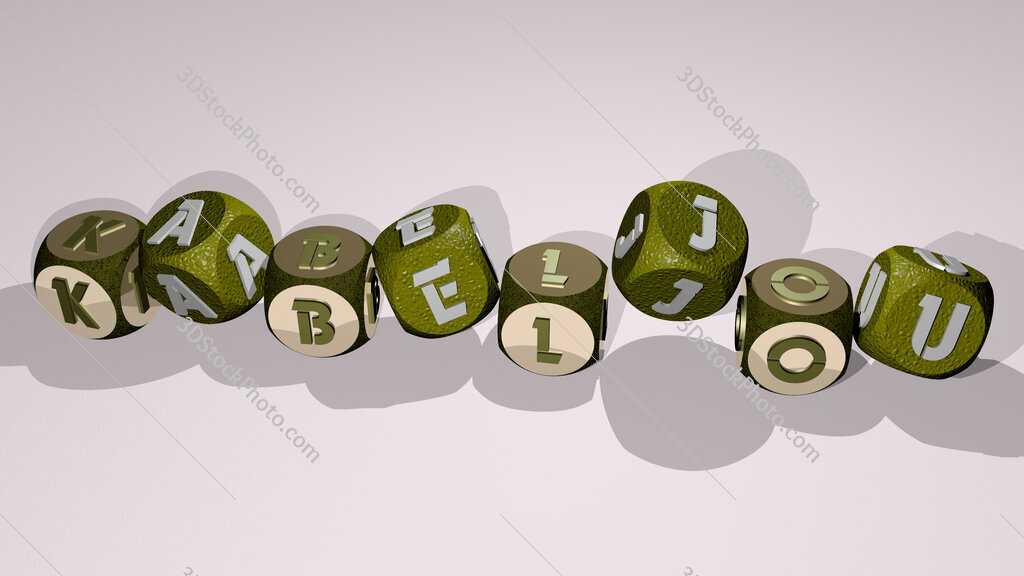 kabeljou text by dancing dice letters