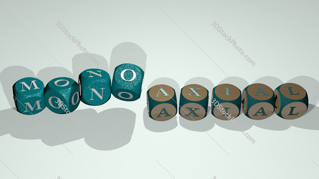 monoaxial text by dancing dice letters