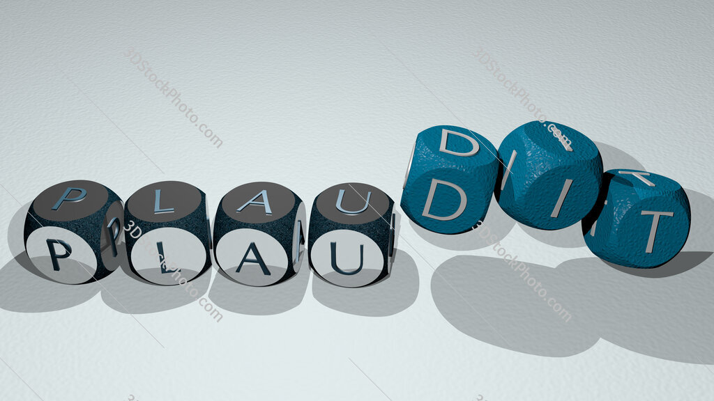 plaudit text by dancing dice letters