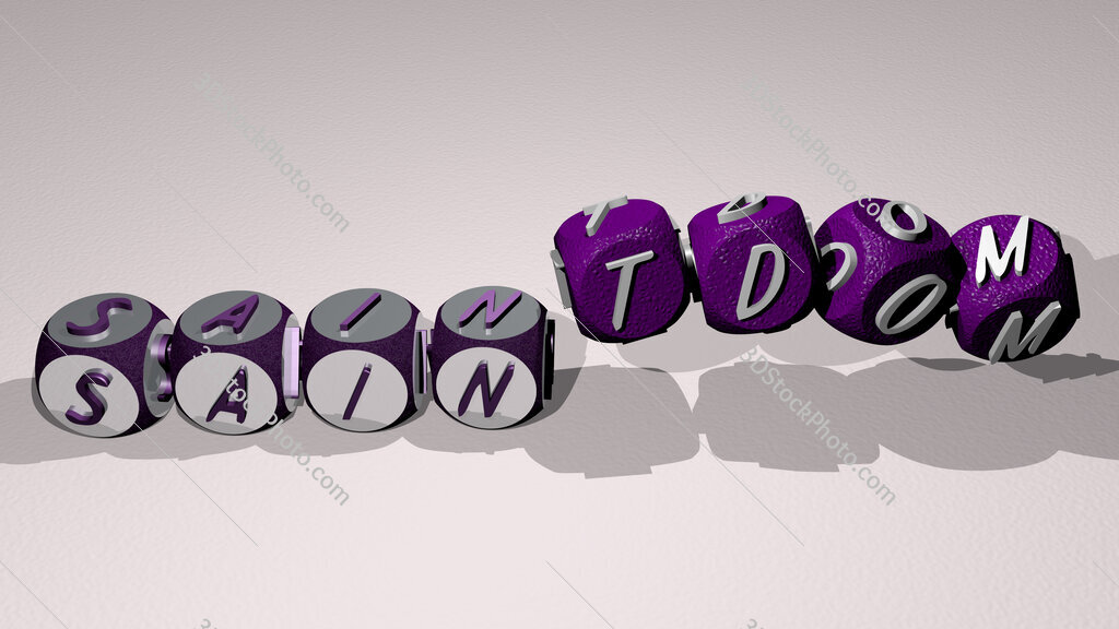 saintdom text by dancing dice letters