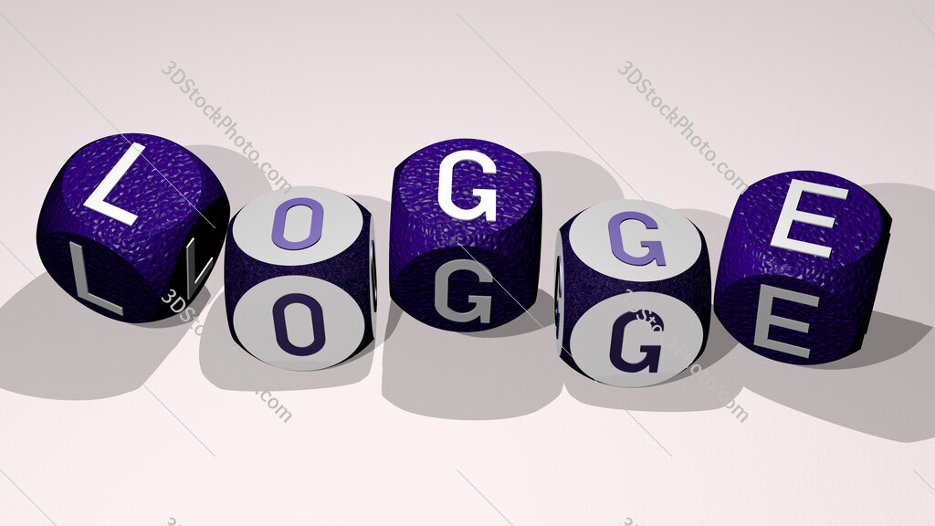 logge text by dancing dice letters