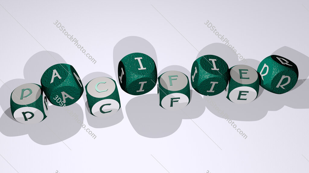 Pacifier text by dancing dice letters