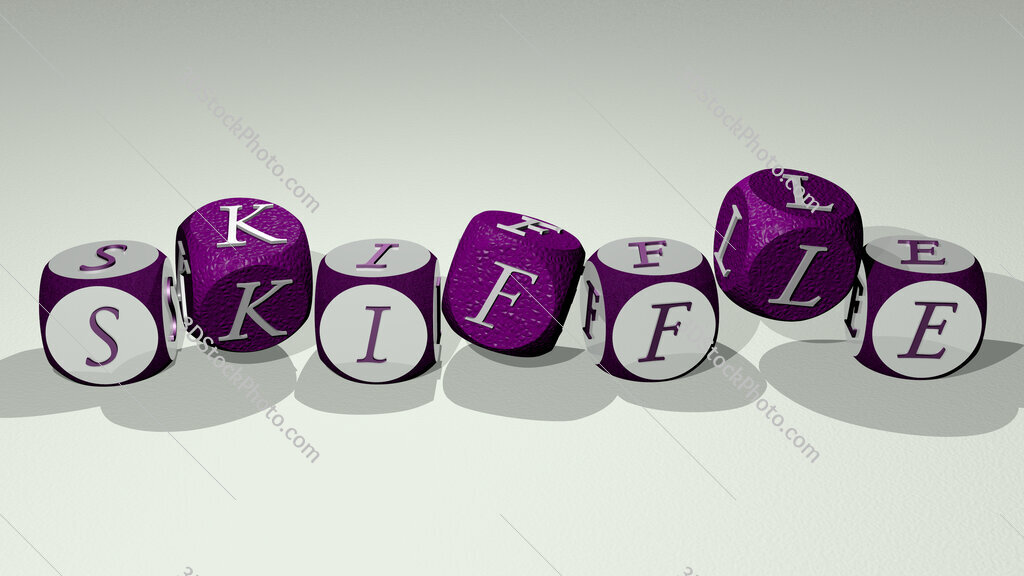 skiffle text by dancing dice letters