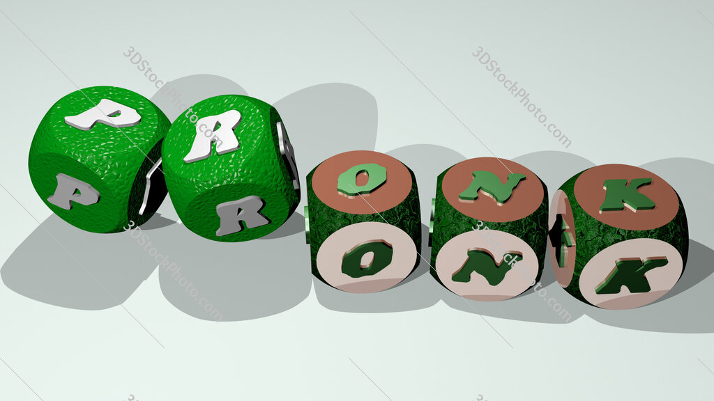 pronk text by dancing dice letters