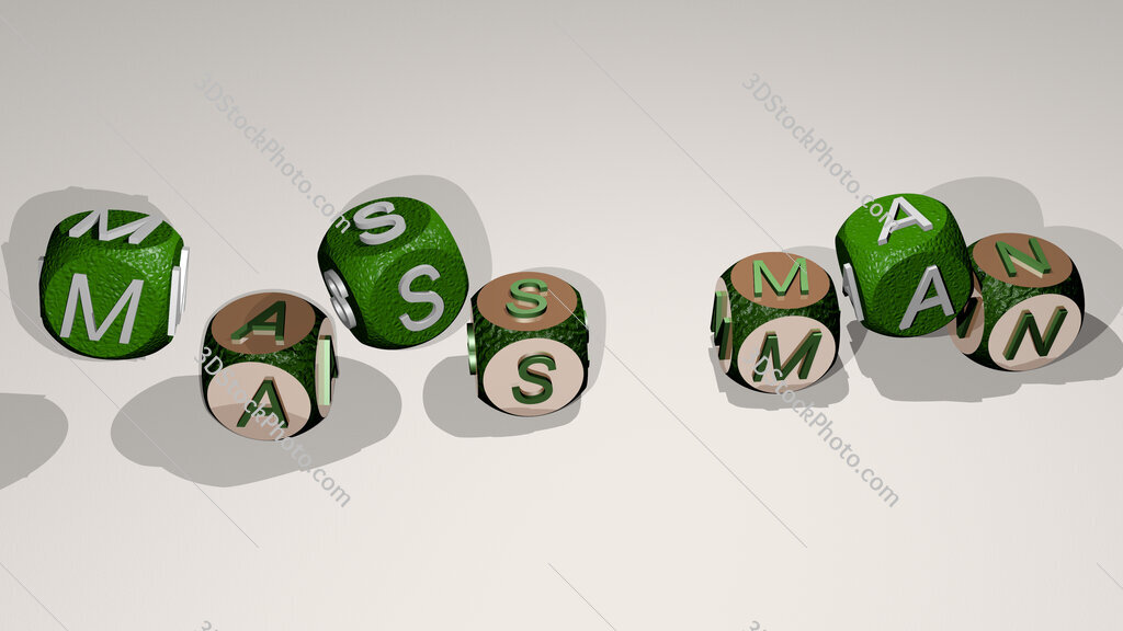 mass man text by dancing dice letters