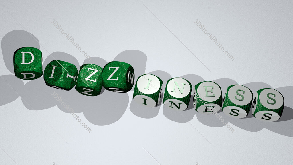 dizziness text by dancing dice letters