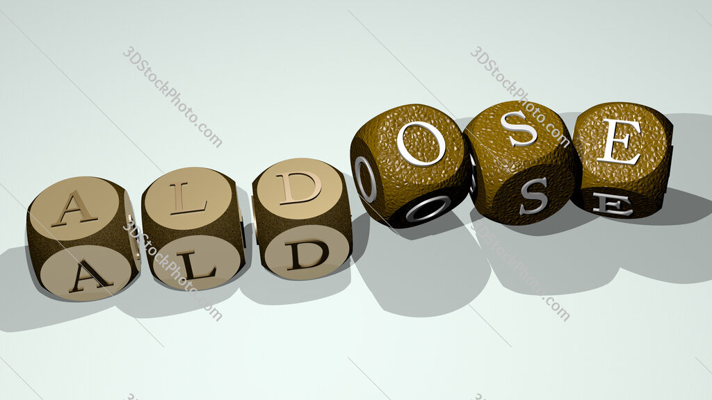 Aldose text by dancing dice letters