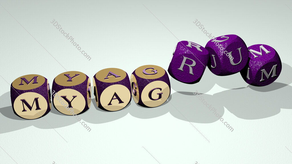 myagrum text by dancing dice letters